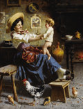 Fine Art - Painting, European:Modern  (1900 1949)  , EUGENIO ZAMPIGHI (Italian 1859-1944). Playing With The Baby.Oil on canvas. 24 x 18 inches (61 x 45.7 cm). Signed at low...
