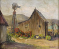 Texas:Early Texas Art - Impressionists, ROLLA TAYLOR (1871-1970). House and Windmill. Oil on canvas.20in. x 24in.. Signed lower right. Signed and titled verso...