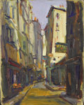 Texas:Early Texas Art - Regionalists, LLOYD GOFF (1908-1982). Paris Street Scenes - Narrow Road.Oil on canvasboard. 9 1/4in. x 7 1/2in.. Unsigned, accompanie...