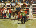 Texas:Early Texas Art - Regionalists, NEIL BOYLE (1931-2006). Untitled Rodeo Bucking Bronc. Oil oncanvas. 24in. x 30in.. Signed lower right. Neil Boyle catches...