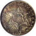 Three Cent Silver: , 1856 3CS MS65 NGC. Speckled sea-green, russet, and gold colorationblankets each side of this crisply detailed Gem. Lustrou...