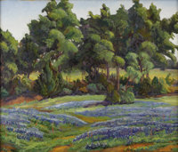 FLORENCE MCCLUNG (1894-1992) Untitled Bluebonnet Landscape, 1930s to 1940s Oil on canvas<