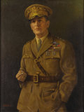 Texas:Early Texas Art - Impressionists, EMIL HERMANN (1870-1966). Portrait of General DouglasMacArthur. Oil on canvas. 40in. x 30in.. Signed lower left.Emil...