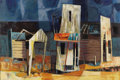 Texas:Early Texas Art - Modernists, DEFORREST JUDD (1916-1992). Ghost Town, 1954. Oil onmasonite. 24in. x 36in.. Signed and dated lower right. Signed andt...