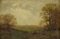 JULIAN ONDERDONK (1882-1922) Untitled Landscape, 1911 Oil on artist board 6in. x 9in. Signed lower right  This marvelo...