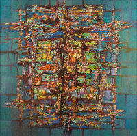 ROBERT PREUSSER (1919-1992) Fluctuating Symmetry, 1965 Oil and mixed media on canvas 50in. x 50in. Signed, dated, an