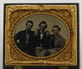 Military & Patriotic:Civil War, Three Brothers in Mosby Rangers Cased 1/6th Plate Ambrotype A slip of paper stored behind the image identifies the men in t...