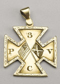 Military & Patriotic:Civil War, A Beautiful Gold Soldier's Medal of the 3rd Pennsylvania Cavalry - Gettysburg This gold soldier's pendant of the 3rd Pennsyl...