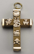 """Military & Patriotic:Civil War, Civil War Era Masonic Cross, 1.25"""" x 2"""", olive wood with applied silver devices and hanging loop. An """"SEV"""" monogram and six ..."""