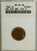 1936 1C Doubled Die Obverse Type Two MS64 Red and Brown ANACS. FS-015. The second Doubled Die Obverse for the year is di...