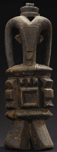 African: , Igbo (Nigeria), Northern Region. Personal Altar, Ikenga.Wood. Height: 19 ½ inches Width: 6 5/8 inches Depth: 7 inches...