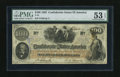 Confederate Notes:1862 Issues, T41 $100 1862. Strong embossing and a little handling are noticedthrough the third-party holder. PMG About Uncirculated 5...