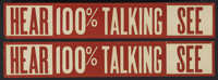 """100% Talkie Snipe (Late 1920s). Snipes (2) (4.5"""" X 26""""). These snipes were added to posters to promote the all..."""