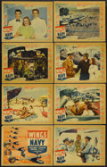 "Movie Posters:Drama, Wings of the Navy (Warner Brothers, 1939). Lobby Card Set of 8 (11"" X 14""). Romantic Drama. Starring George Brent, Olivia de... (Total: 8 Items)"