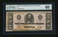 Confederate Notes:1862 Issues, T55 $1 1862. Moisture stains are found on this PMG 60 Uncirculated$1. This is still a scarce note....