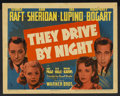 "Movie Posters:Drama, They Drive by Night (Warner Brothers, 1940). Title Lobby Card (11""X 14""). Drama. Starring Humphrey Bogart, George Raft, Ann..."