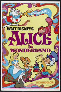 """Alice in Wonderland (Buena Vista, R-1974). One Sheet (27"""" X 41""""). Animated Musical. Starring the voices of Kat..."""