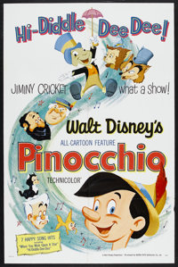 """Pinocchio (Buena Vista, R-1962). One Sheet (27"""" X 41""""). Animated Fantasy. Starring the voices of Dick Jones, C..."""