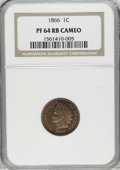 Proof Indian Cents: , 1866 1C PR64 Red and Brown Cameo NGC. Although the Guide Book gives the mintage as 725 coins, the precise number struck...