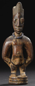 Other: , Yoruba (Nigeria), said to have been carved by Igbuke of Oyo. Male Twin Figure, ere ibeji. Wood, camwood powder, beads. H...