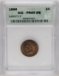 Proof Indian Cents: , 1886 1C Type Two PR65 Red and Brown ICG. Much rarer than its Type One counterpart, the 1886 Type Two has the lowest feather...