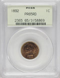 Proof Indian Cents: , 1892 1C PR65 Red PCGS. Yellow-gold and peach with dashes of plum-red on the central reverse. An unmarked and well struck Ge...