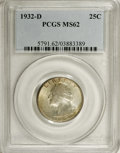 Washington Quarters: , 1932-D 25C MS62 PCGS. An affordable lower-Mint State example ofthis always-popular key date. The present example offers li...