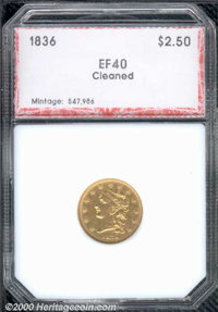 1836 $2 1/2 Script 8 XF 40 PCI. Cleaned. A medium circulated grade example that displays an unnaturally bright appearanc...
