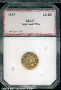 1868 $2 1/2 MS 60 Repaired Rim PCI. The scattered abrasions do not detract from either the sharply defined devices or th...