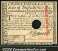 Colonial Notes:Massachusetts, May 5, 1780, $20, Massachusetts, MA-285, AU. One fold plus a pa...