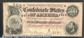 Confederate Notes:1864 Issues, 1864 $500 Equestrain Statue of Washington Confederate Flag on l...