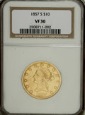 Liberty Eagles: , 1857-S $10 VF30 NGC. NGC Census: (3/52). PCGS Population (1/55).Mintage: 26,000. Numismedia Wsl. Price for NGC/PCGS coin i...