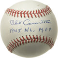 "Autographs:Baseballs, Phil Cavarretta ""1945 N.L. M.V.P."" Single Signed Baseball. PhilCavarretta, an accomplished member of the Chicago Cubs for ..."