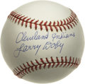 "Autographs:Baseballs, Larry Doby ""Cleveland Indians"" Single Signed Baseball. The American League's first black ballplayer has perfectly signed th..."