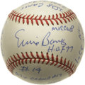"Autographs:Baseballs, Ernie Banks ""H.O.F. 77"" Single Signed Stat Baseball. The manaffectionately referred to as ""Mr. Cub"" has signed the sweet s..."