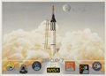Explorers:Space Exploration, Mercury 7 Print Signed by Six Astronauts and One Widow,...