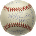 Autographs:Baseballs, Mike Schmidt Single Signed Stat Baseball. Not only does this greatorb contain the signature of Hall of Fame Philadelphia P...