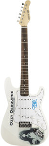 Music Memorabilia:Autographs and Signed Items, Ozzy Osbourne Signed Guitar. A white Signature Series electricguitar with an Ozzy Osbourne logo and image on the body, sign...(Total: 1 Item)