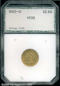 1850-D $2 1/2 VF 20 PCI. A median rarity among D-mint quarter eagles, the 1850-D is more challenging to locate than the...