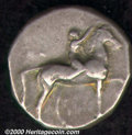 Ancient Greek, Calabria. Tarentum. 302-281 BC AR stater, Naked boy crowning stationary horse to right which lifts its le...