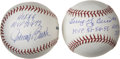 Autographs:Baseballs, Johnny Bench and Larry Yogi Berra Single Signed InscriptionBaseballs Lot of 2. Each of these two Hall of Fame backstops ha...