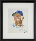 Baseball Collectibles:Others, Mickey Mantle Signed Art. Renowned sports illustrator Ron Lewiscreated the art that here acts as an impressive canvas for ...