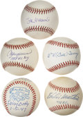 Autographs:Baseballs, Baseball Stars and Hall of Famers Singe Signed Baseballs Lot of 5.Hall of Fame quartet of Larry Doby, Bill Terry, Stan Musi...