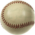 Autographs:Baseballs, Early 1950s Mini Baseball Signed By Mickey Mantle and Others.Miniature replica of the Official American League Baseballs u...