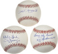 Autographs:Baseballs, New York Yankees Hall of Famers Single Signed Baseballs Lot of 3.Brilliant example of three clean official baseballs each ...