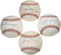Autographs:Baseballs, Boston Red Sox Greats Single Signed Baseballs Lot of 4. Four greatformer members of the storied Boston Red Sox franchise e...