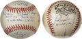 Autographs:Baseballs, Warren Spahn and John Sain Single Signed Inscription Baseballs Lotof 2. From 1942-51, John Sain and Warren Spahn formed th...