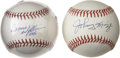 Autographs:Baseballs, Johnny Mize and Bernie Williams Single Signed Baseballs Lot of 2.Two former members of the New York Yankees present their s...