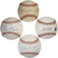 Autographs:Baseballs, Star and Hall of Fame Pitchers Single Signed Baseballs Lot of 4.The Hall of Fame pitching trio of Nolan Ryan, Sandy Koufax...