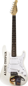 Music Memorabilia:Autographs and Signed Items, Alice Cooper Signed Guitar. A white Signature Series electricguitar with Alice Cooper logo on the body, signed on the pick ...(Total: 1 Item)